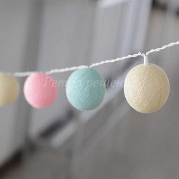 Гирлянда из хлопковых шаров
